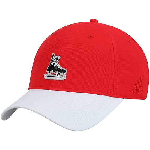Men's adidas Red/White Detroit Red Wings Coaches Two-Tone Skate Slouch Adjustable Hat