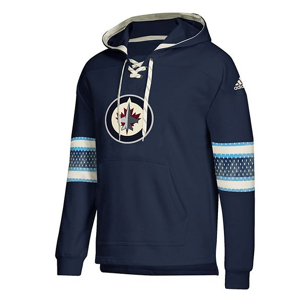 Men's adidas Navy Winnipeg Jets Jersey Lace-Up Pullover Hoodie