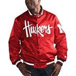 Men's Starter Scarlet Nebraska Cornhuskers O-Line Varsity Full-Button Satin Jacket