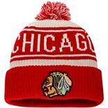 Men's Fanatics Branded White Chicago Blackhawks True Classic Z Route Cuffed Knit Hat with Pom