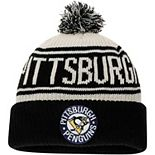 Men's Fanatics Branded White Pittsburgh Penguins True Classic Z Route Cuffed Knit Hat with Pom