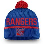 Men's Fanatics Branded Blue New York Rangers Iconic Stroke Cuffed Knit Hat with Pom