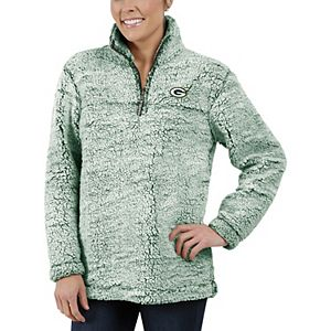 Women's Green Green Bay Packers Sherpa Quarter-Zip Pullover Jacket