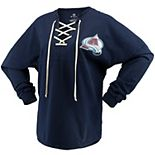 Women's Fanatics Branded Navy Colorado Avalanche Lace Up Long Sleeve Spirit T-Shirt