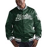 Men's Starter Green Michigan State Spartans O-Line Varsity Full-Button Satin Jacket