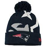 Men's New Era Navy New England Patriots Logo Whiz 3 Cuffed Pom Knit Hat