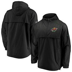 Men's Fanatics Branded Black Minnesota Wild Authentic Pro Rinkside Anorak 1/4-Zip Jacket