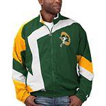 Men's Starter Green/White Green Bay Packers Throwback Star Full-Zip Jacket