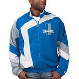 Men's Starter Blue/White Detroit Lions Throwback Star Full-Zip Jacket