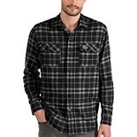 Men's Antigua Black UCF Knights Stance Flannel Button-Up Long Sleeve Shirt