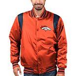 Men's Starter Orange/Navy Denver Broncos Prime Time Twill Satin Varsity Full-Snap Jacket