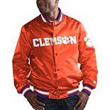 Men's Starter Orange Clemson Tigers O-Line Varsity Full-Button Satin Jacket