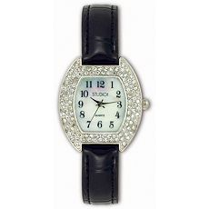 Studio Time Silver-Tone Diamond Accent April Birthstone Watch