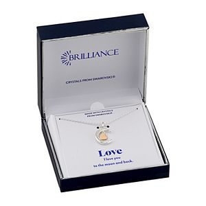 Brilliance Two-Tone Moon & Heart Pendant Necklace with Swarovski Crystal