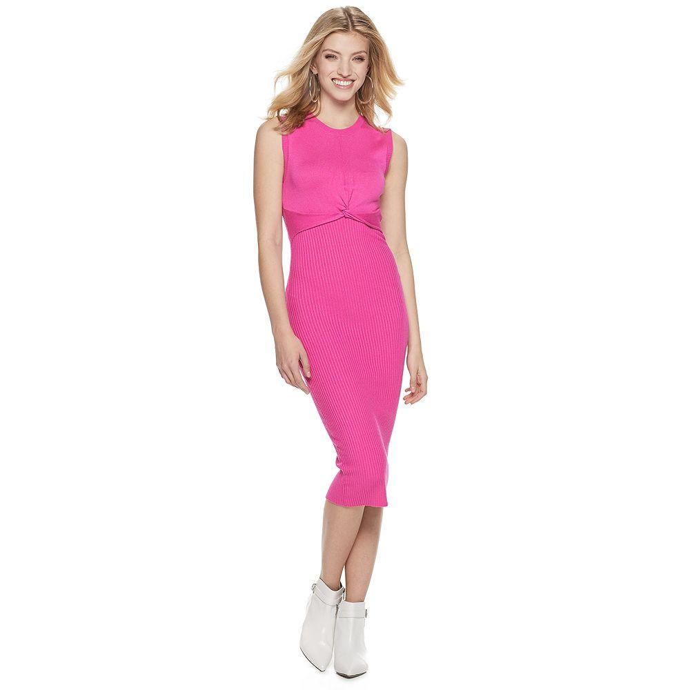 Women's Jennifer Lopez Twist-Front Sleeveless Sweater Dress