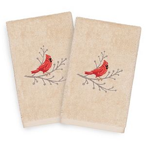 Linum Home Textiles Christmas 2-pack Cardinal Embroidered Luxury Turkish Cotton Hand Towels