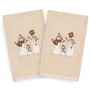 Linum Home Textiles 2-pack Christmas Snow Family Embroidered Hand Towel Set