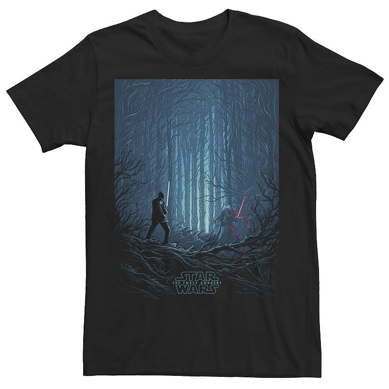 Men's Star Wars The Force Awakens Battle In The Woods Graphic Tee, Size: XXL, Black