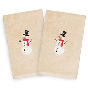 Linum Home Textiles 2-pack Snowman Embroidered Hand Towel Set