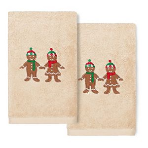 Linum Home Textiles Christmas 2-pack Gingerbread Embroidered Luxury Turkish Cotton Hand Towels