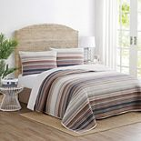 Printed Yarn Dyed Stripe Reversible Quilt Set with Shams