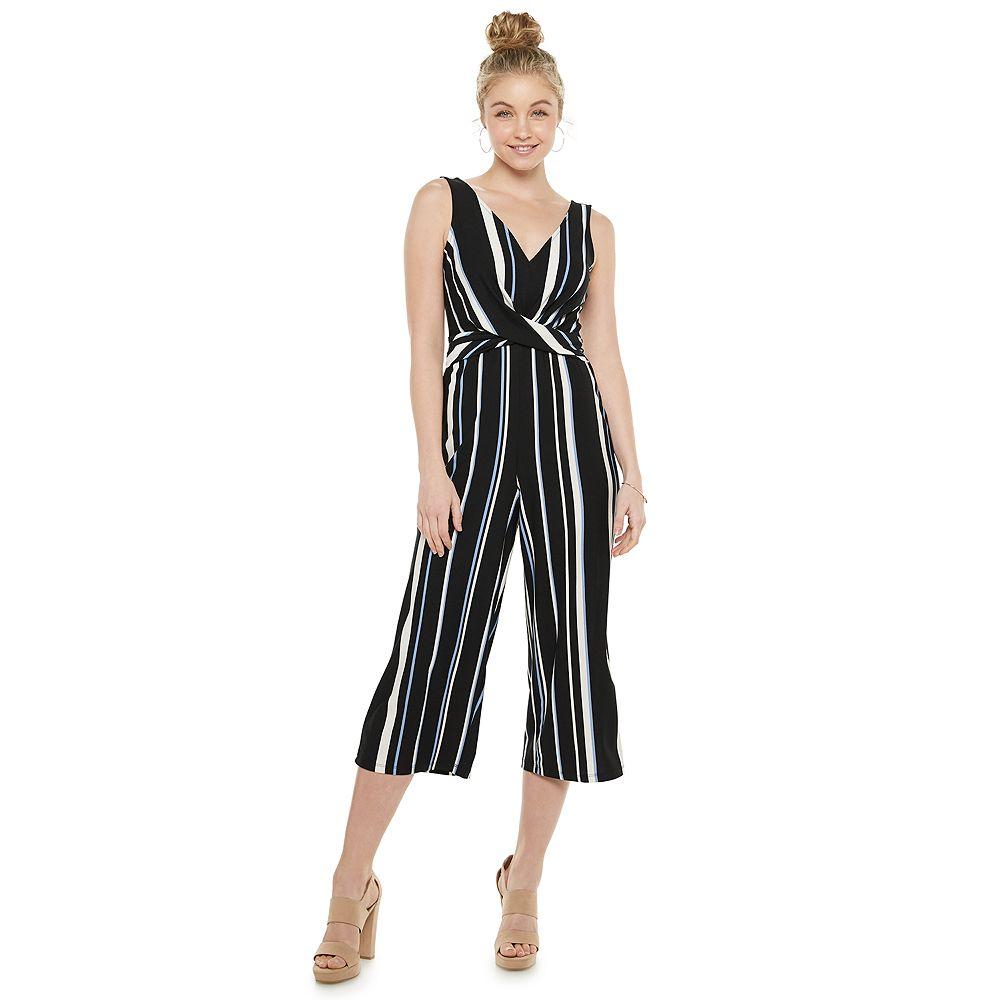 Juniors' Candie's® Print Wrap-Front Cropped Jumpsuit
