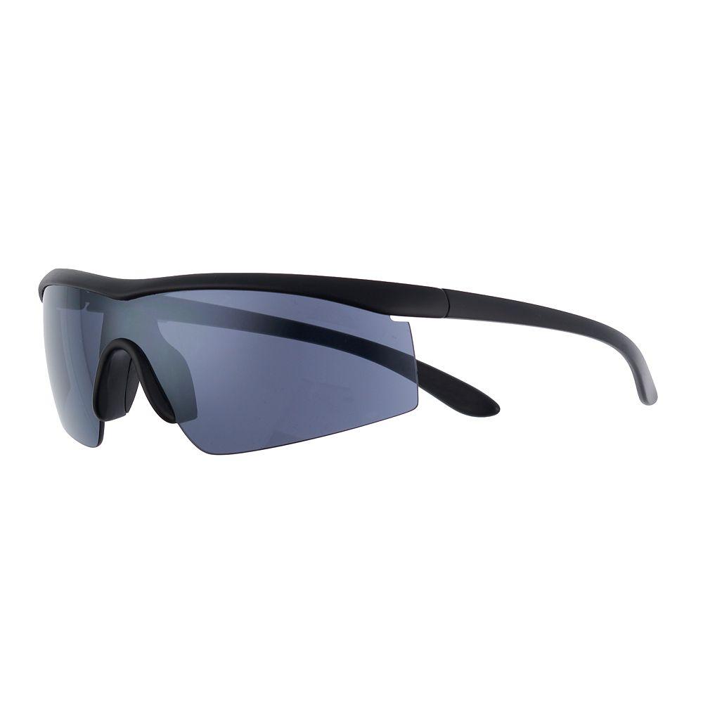 Men's Apt. 9® Matte Black Shield - Smoke Silver Flash Lens