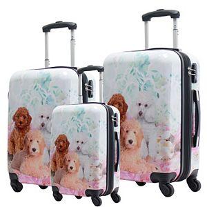 Chariot Garden Poodle Hardside 3-Piece Spinner Luggage Set
