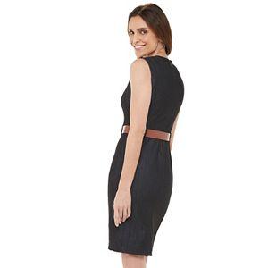 Women's Chaps Sleeveless Denim Sheath Dress with Belt