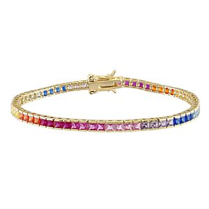 Stella Grace 18k Gold Over Silver Multicolored Cubic Zirconia Tennis Bracelet