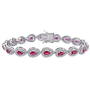 Stella Grace Sterling Silver Red Cubic Zirconia & Lab-Created White Sapphire Tennis Bracelet