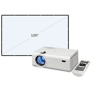 GPX Mini Projector with 120-Inch Foldable Screen