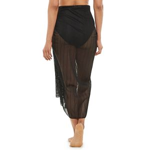 Women's Beach Scene Sheer Side-Tie Cover-Up Sarong