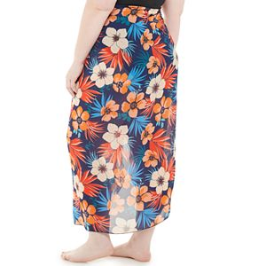 Plus Size Beach Scene Floral Side-Tie Sarong Cover-Up