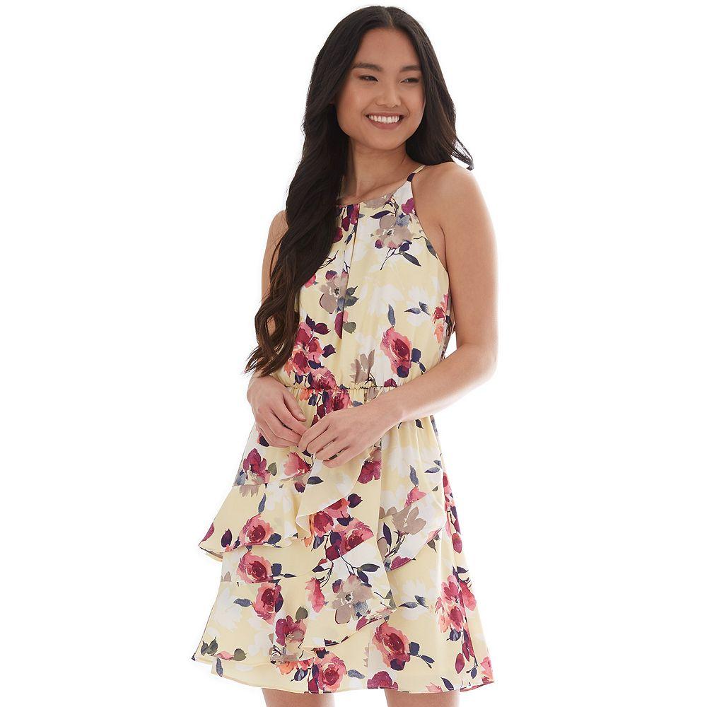 Juniors' IZ Byer Asymmetrical Tiered Flounce Dress