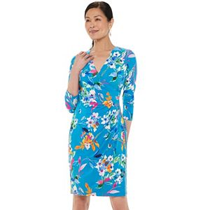 Women's Chaps Three Quarter Sleeve Faux Wrap Dress