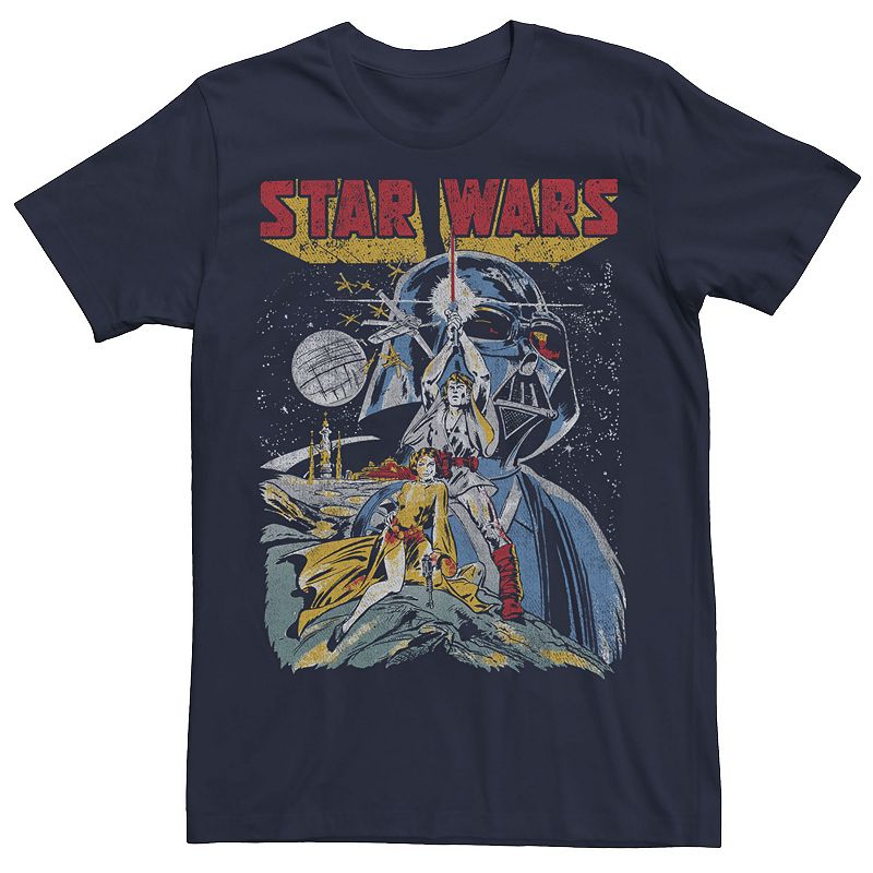 Men's Star Wars Retro Poster Graphic Tee, Size: Small, Blue