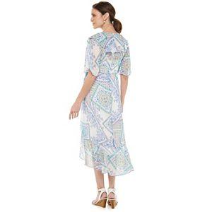 Petite Chaps Print Chiffon Faux-Wrap Dress