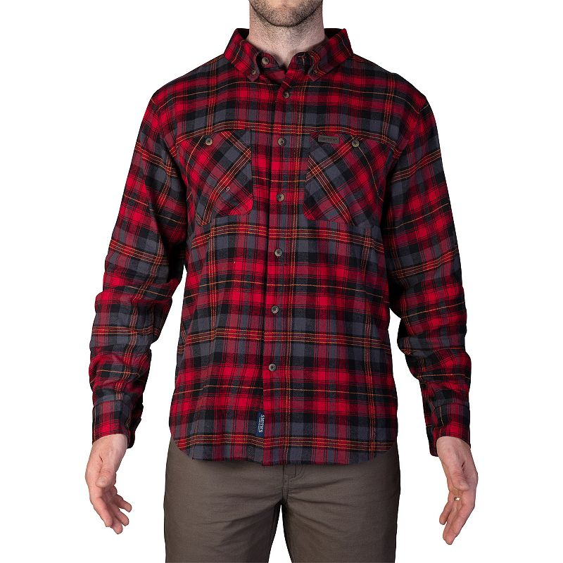Men's Smith's Workwear Extended Tail Plaid Flannel Button-Down Shirt, Size: XXL, Red