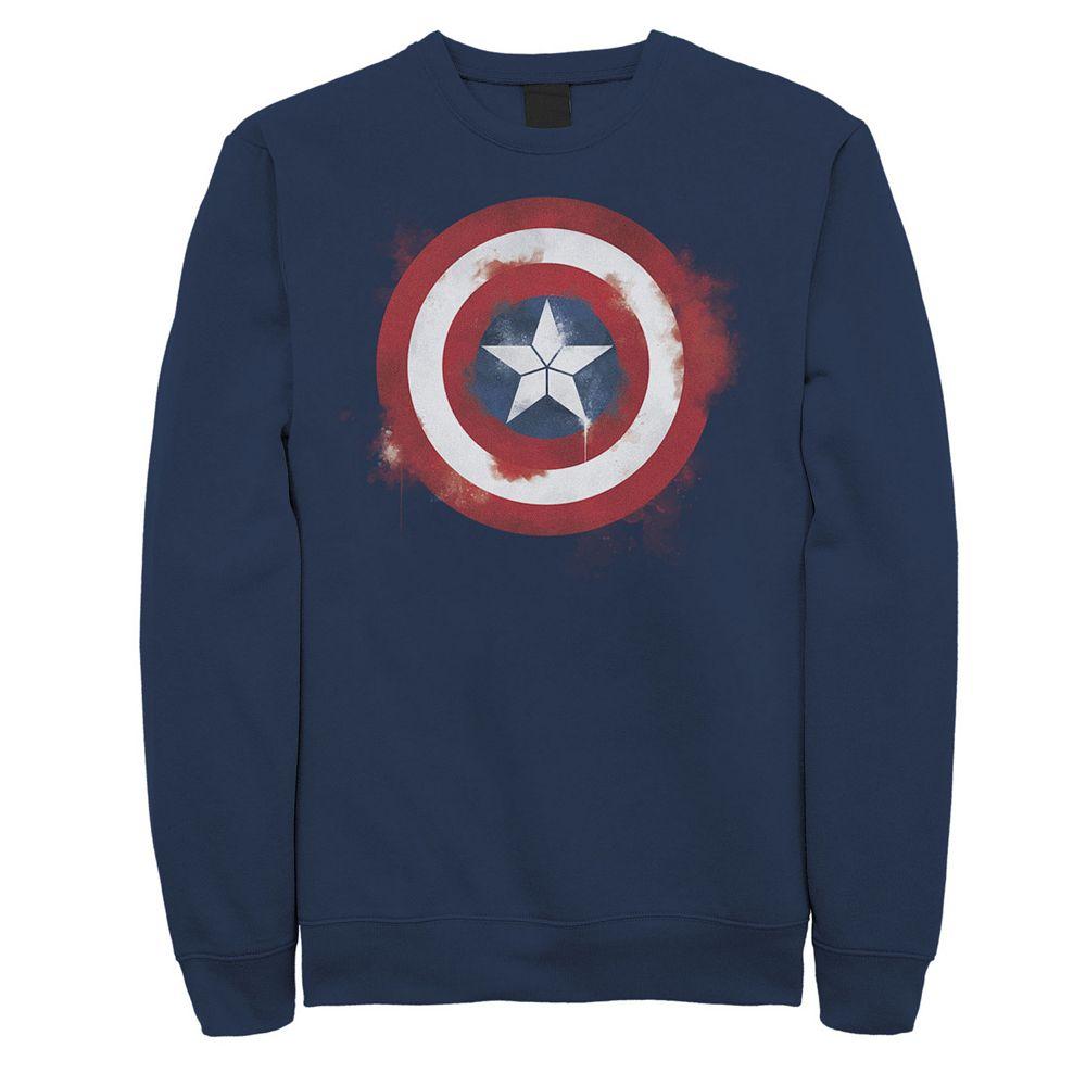 Men's Marvel Avengers Endgame Spray Paint Captain America Logo Sweatshirt