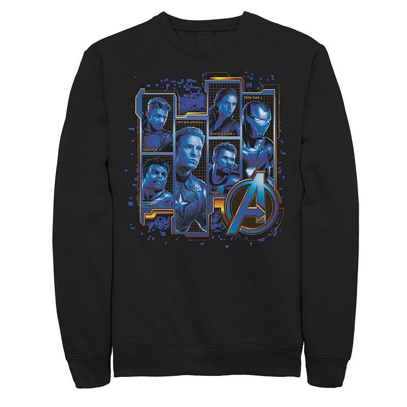 Men's Marvel Avengers Endgame Hero Name Logo Square Poster Tee, Size: XXL, Black