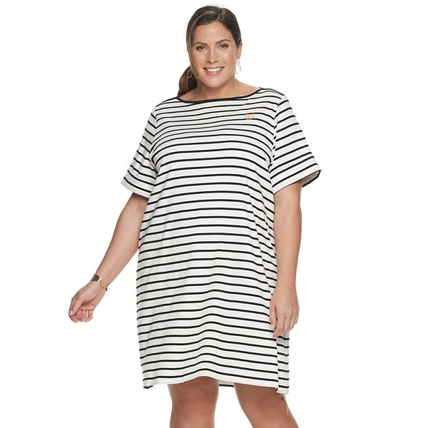 Plus Size Chaps Elbow Sleeve T-Shirt Dress