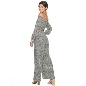 Juniors' Live To Be Spoiled Smocked Off-the-Shoulder Jumpsuit
