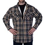 Men's Smith's Workwear Plaid Sherpa-Lined Cotton Flannel Shirt Jacket
