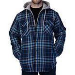 Men's Smith's Workwear Fleece-Lined Hooded Flannel Jacket