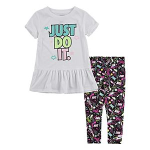Toddler Girl Nike Graphic Peplum Top & Leggings Set