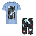Boys 4-7 Hurley Dri-FIT UPF 50+ Tropical Top & Board Shorts Set