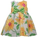 Toddler Girl Bonnie Jean Sleeveless Sunflower Print Pique Dress with Bow