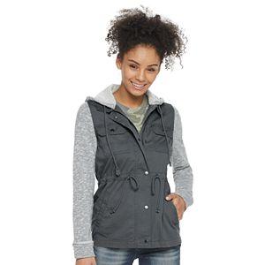 Juniors SO® Knit Sleeve Utility Jacket
