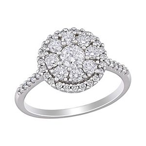 Stella Grace 10k White Gold 1 Carat T.W. Diamond Halo Engagement Ring